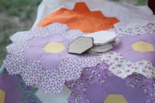 Vintage Hexagon Quilt Top